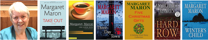 Photo of Margaret Maron and several of her book covers.