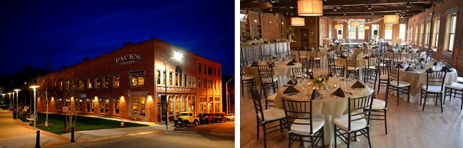 Street view of Pack's Tavern (left); View of The Century Room (right)