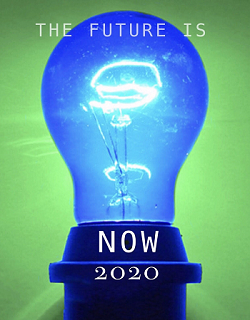 Blue lightbulb against a green background.