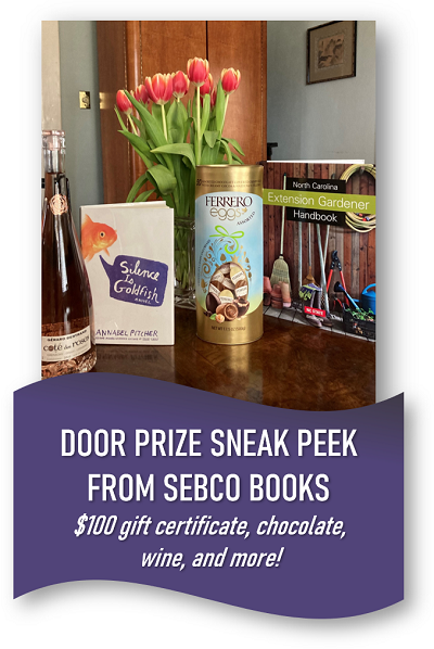 Door prize sneak peak from Sebco Books: $100 gift certificate, chocolate, wine and more!